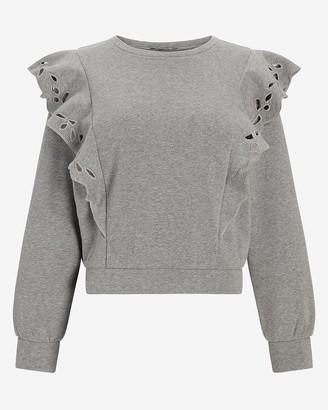 Express Eyelet Lace Ruffle Sleeve Sweatshirt