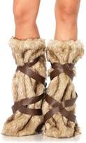 Leg Avenue Women's Warrior Fur Leg Warmers with Faux Leather Wrap Detail Costume Accessory