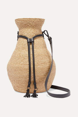 Helen Kaminski Albus Lumen Figura Leather-trimmed Raffia Shoulder Bag - Beige