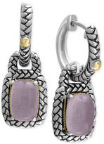 Effy Serenity by Rose Quartz Woven-Style Drop Earrings (3-1/10 ct. t.w.) in Sterling Silver and 18k Gold
