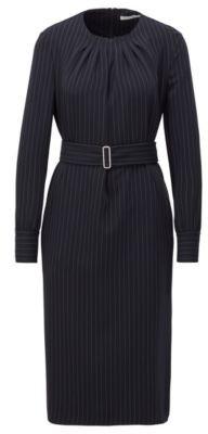 HUGO BOSS Long Sleeve Pinstripe Dress With Pintuck Neckline - Patterned