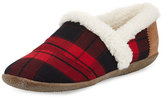 Toms Plaid Faux-Shearling Slipper, Dark Red