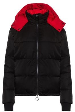 HUGO BOSS Short-length reversible jacket with contrast hood