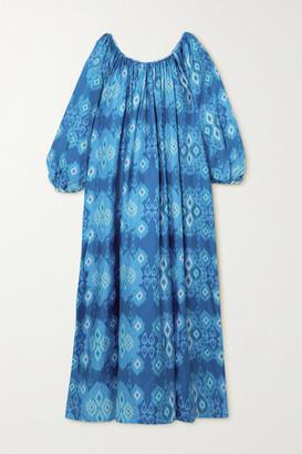 RIANNA + NINA Reggina Pleated Printed Silk-twill Maxi Dress - Blue