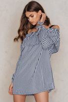 boohoo Gingham Off Shoulder Dress