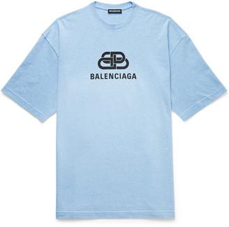 Balenciaga Oversized Logo-Print Melange Cotton-Jersey T-Shirt