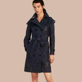 Burberry Ruffle Detail Macramé Lace Trench Coat