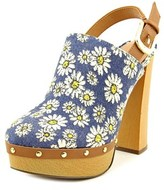 Report Mylie Women Open Toe Canvas Blue Platform Heel.