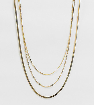 ASOS DESIGN Curve 14k gold plated multirow necklace in fine curb and snake chains