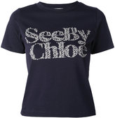 See by Chloe floral logo T-shirt