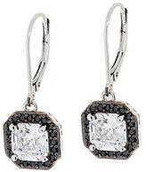 Diamonique Black & Clear Asscher Cut Earrings, Platinum Clad