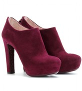 Miu Miu SUEDE ANKLE BOOTS WITH GLITTER SOLES