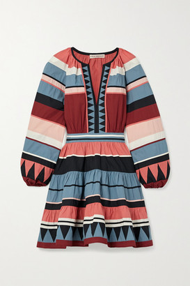 Ulla Johnson Mika Striped Cotton-poplin Mini Dress - Burgundy