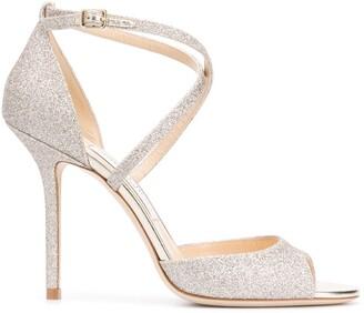 Jimmy Choo Emsy 100mm glitter-embellished sandals