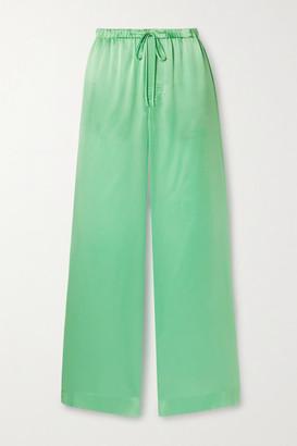 Vince Silk-satin Wide-leg Pants - Jade