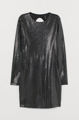H&M Shimmery Fitted Dress - Black