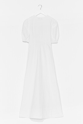 Nasty Gal Womens Cut Out V Neck Button Maxi Dress - White - 8