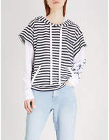 Natasha Zinko Striped layered cotton hoody