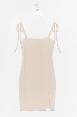 Nasty Gal Womens Don't Get Tied Down Slit Mini Dress - Ecru