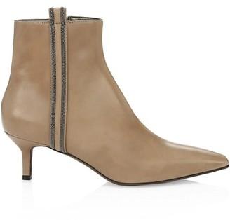 Brunello Cucinelli Monili-Trimmed Square-Toe Leather Ankle Boots