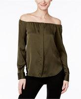 DKNY Off-The-Shoulder Silk-Blend Blouse