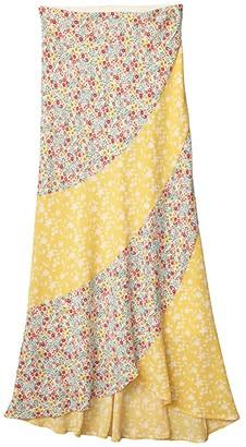 BB Dakota All Mixed Up Printed Bubble Crepe Skirt (Lemon Drop) Women's Skirt