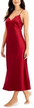 INC International Concepts Inc Velvet-Applique Long Satin Nightgown, Created for Macy's
