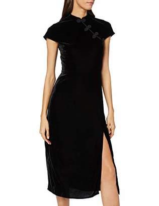 Warehouse Women's Oriental Neck Velvet Midi Dress