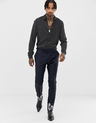 Asos EDITION skinny suit pants in navy 100% wool with embroidery