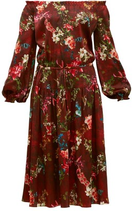 Adriana Iglesias Creek Grapevine-print Silk-blend Dress - Burgundy Print