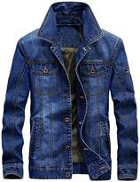 Mordenmiss Men's Long Sleeve Denim Jacket Coat With Front Pockets 2XL
