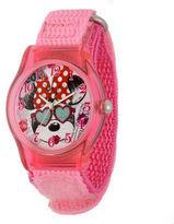 Disney Minnie Mouse Face Kids Pink Nylon Strap Watch