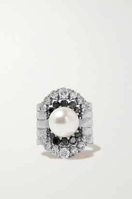 Yvonne Léon 18-karat White Gold, Diamond And Pearl Ear Cuff