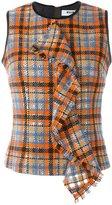 MSGM draped checked tank - women - Polyamide/Polyester/Wool - 42