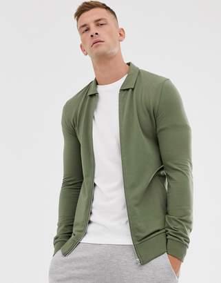 Asos Design DESIGN muscle harrington jersey jacket in khaki-Green