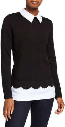 Neiman Marcus 2fer Pullover Sweater with Scalloped Sweep