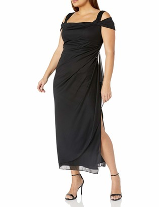 Alex Evenings Women's Plus Size Long Mesh Cold Shoulder Dress