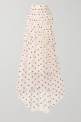Brock Collection Embroidered Tiered Silk-blend Organza Maxi Skirt - Cream