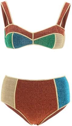 Oseree Glitter Colour Block Bikini Set