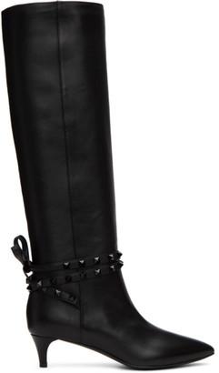 Valentino Black Garavani Rockstud Tall Boots