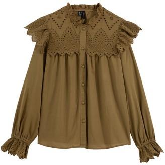 Vero Moda Cotton High-Neck Ruffled Blouse with Embroidery