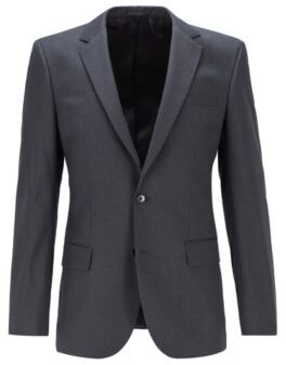 BOSS Slim-fit jacket in virgin-wool serge with AMF stitching