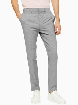 Topman Grey Marl Skinny Fit Suit Trousers