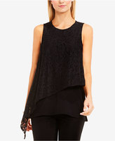 Vince Camuto Asymmetrical Lace-Overlay Top