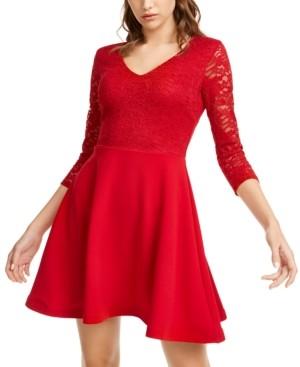 B. Darlin Juniors' Lace & Scuba Fit & Flare Dress