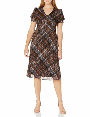 Ronni Nicole Women's Short Sleeve Plaid fit and Flare
