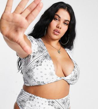 ASOS DESIGN curve deep plunge tie front T-shirt bikini top in white bandana print