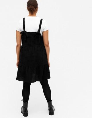 Monki Tara organic cotton mini smock dress in black