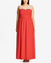 City Chic Trendy Plus Size Giuliana Embellished Illusion Gown