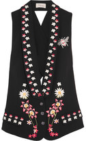 Temperley London Juniper Cutout Embroidered Crepe Vest - Black